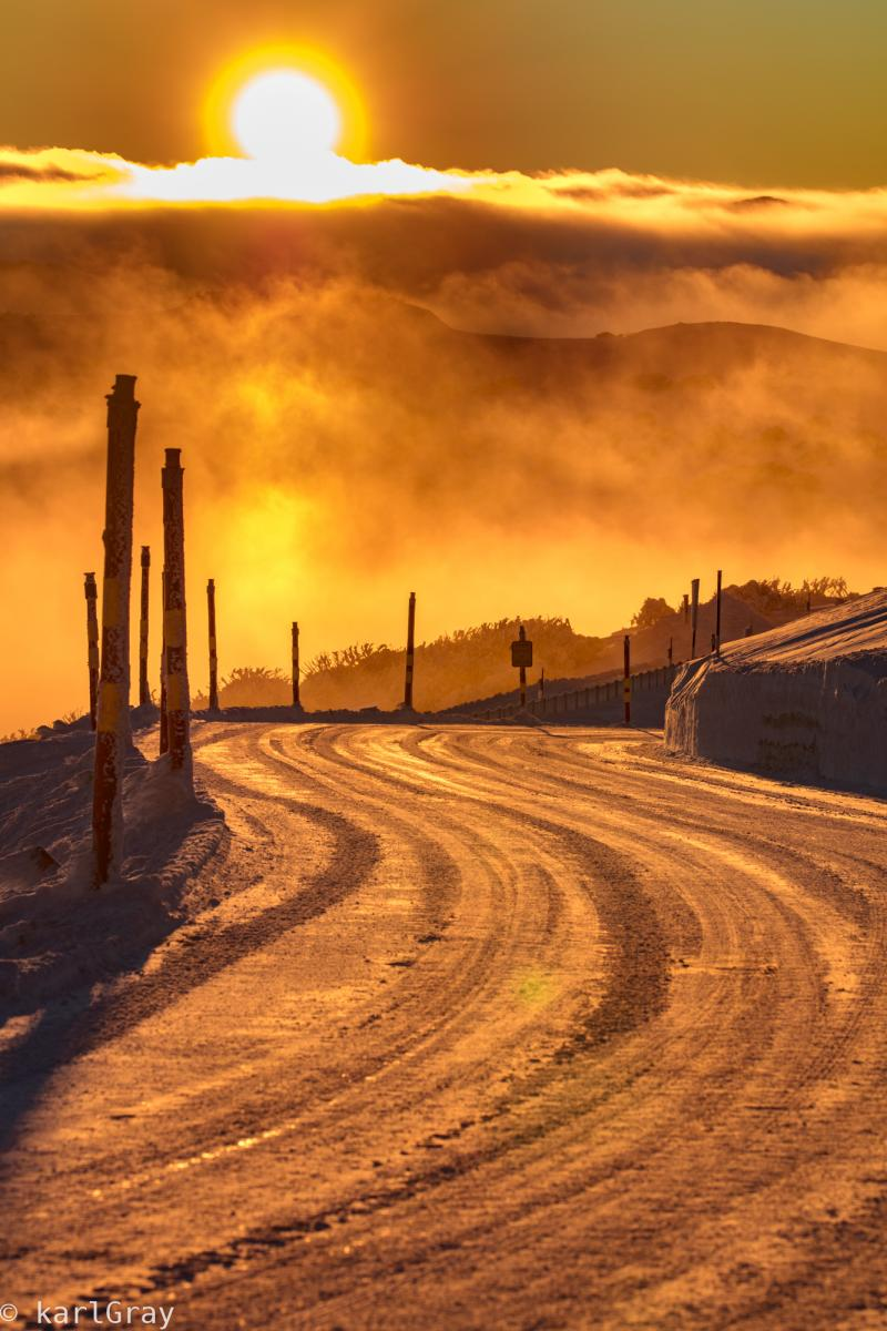 Follow the Golden Road - Winter sunrise on The Great Alpine Road